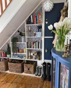 hallway, shelves, bookshelves, storage, under-stair storage