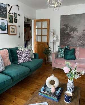 Living room, pink velvet sofa, green velvet sofa