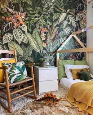 boys bedroom, jungle, wall mural, wooden bed, rocking chair
