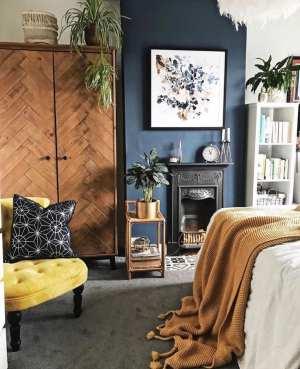 bedroom, fireplace, mustard, herringbone