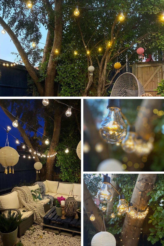 festoon lights, lights, garden lights, garden, garden inspiration