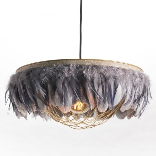grey feather chandelier light fitting from rockett st george