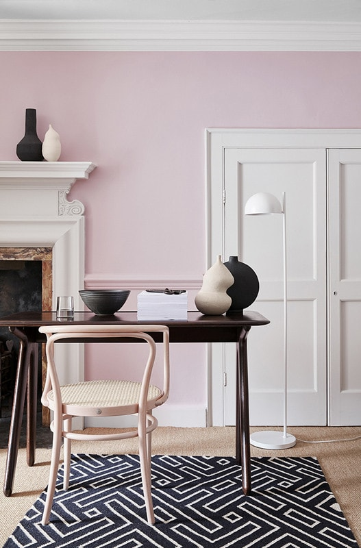 pink walls in the dining room