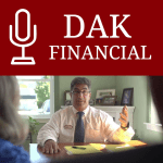 dak financial podcast logo red and white
