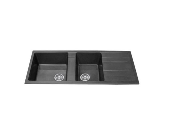 black 1 and 3 4 bowl kitchen sink with drainer 1160 x 500mm