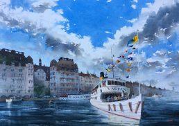 Watercolour of the ferry Västan at Nybrokajen, Stockholm