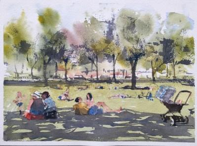 Sunbathers in Vasaparken by David Meldrum