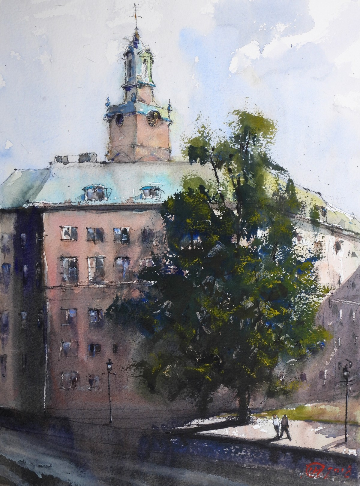 Watercolour of Stockholm – Storkyrkan
