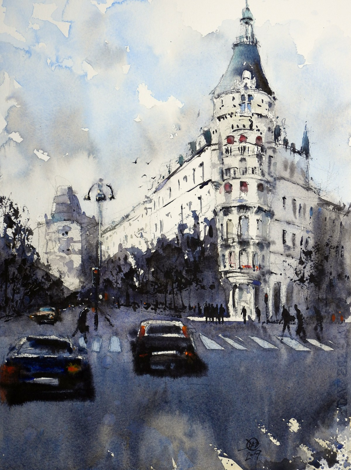 Watercolour of Birger Jarlsgatan, Stockholm