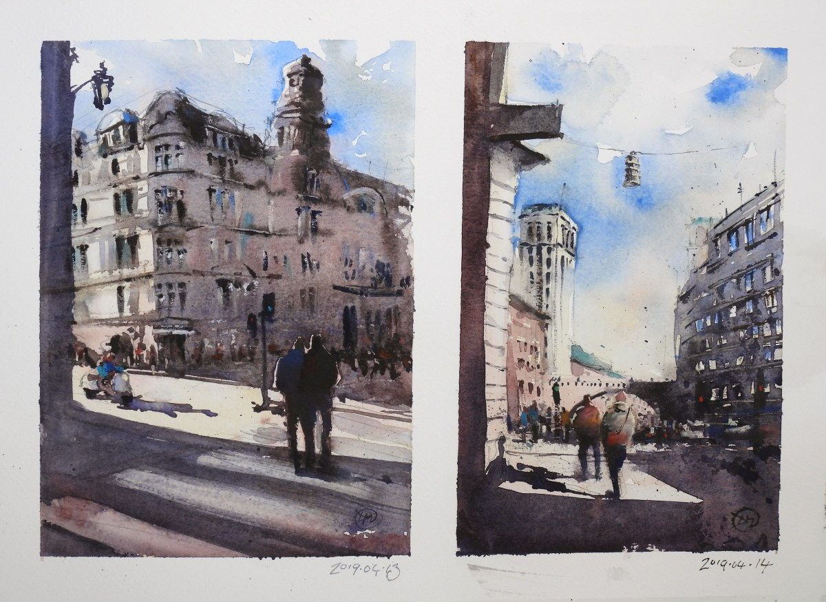 Weekend watercolour sketches of Stockholm