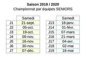 16/08/19 : Le calendrier de l'année 2019/2020
