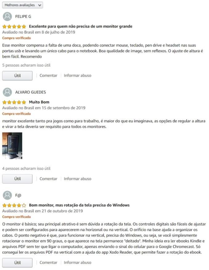 Comentários e opiniões sobre o monitor Dell P2018H na amazon