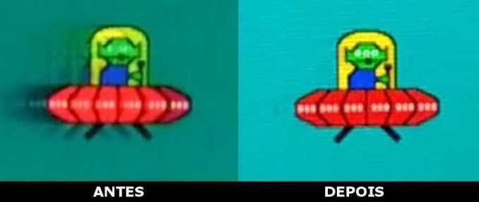 antes e após diminuir o efeito ghosting no monitor, tirando o rastro.