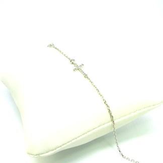 bracciale donna oro bianco zirconi croce oreficeria italy