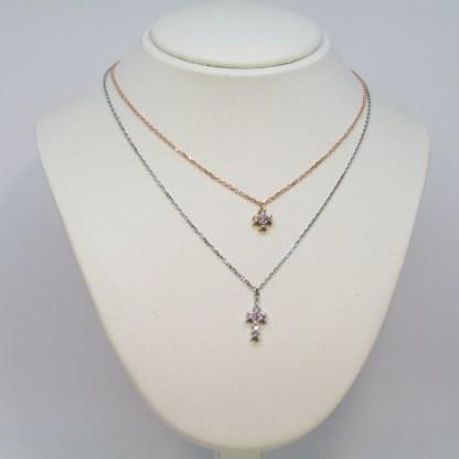 collana donna oro bianco e rosa zirconi croce due fili