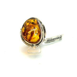 anello donna argento e ambra