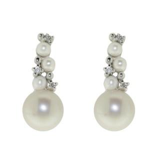 orecchini donna oro bianco perle e diamanti