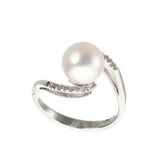 anello donna oro bianco perle e diamanti Genesia Perle