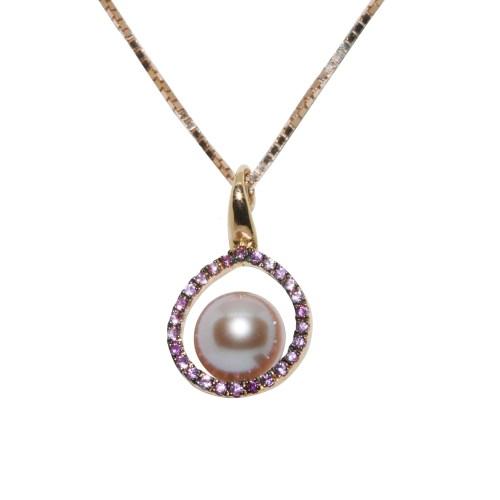 Collana donna oro rosa perle di acqua dolce e zaffiro rosa Genesia Perle