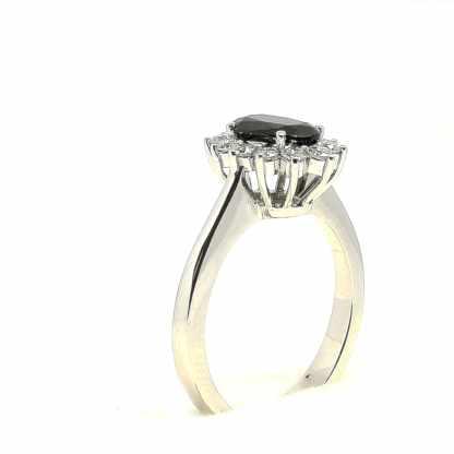 Anello in oro bianco con Zaffiro e Diamanti modello Kate