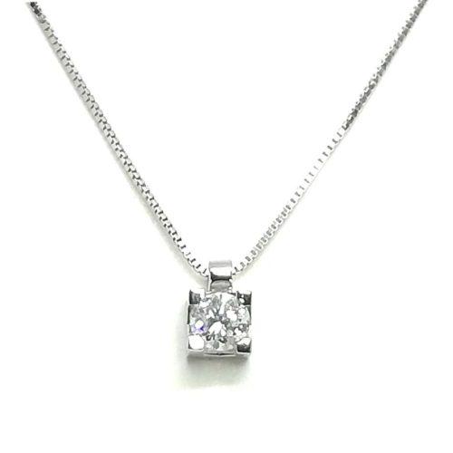 Collana donna in oro bianco e diamanti Punto Luce