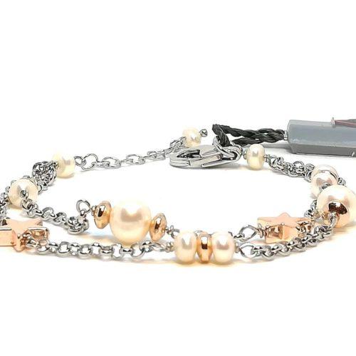 Bracciale donna in Argento e Perle di acqua dolce Kikilia KBR387