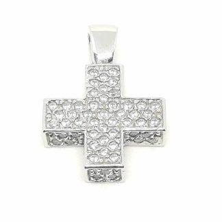 Ciondolo donna in Oro bianco e Zirconi Croce