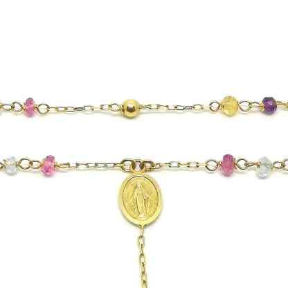 Collana girocollo Rosario con Madonna Miracolosa in Oro giallo e Pietre dure