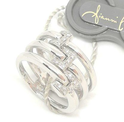 Anello donna Fascia in Oro bianco e Diamanti Gianni Carità