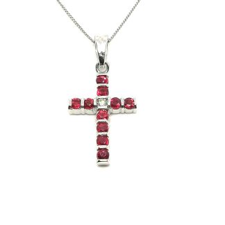 Collana donna in Oro bianco Croce con Rubini e Diamanti Salvini