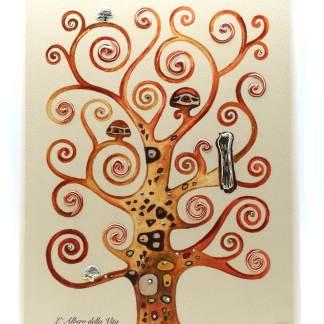Quadro in legno e argento Albero della vita Klimt Acca Argenti