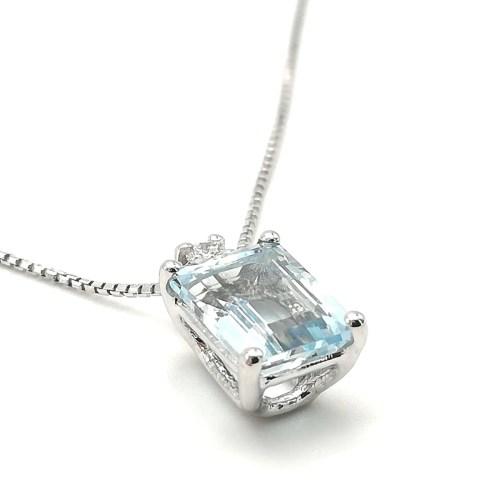 Collana donna in Oro bianco Pendente Acqua marina e Diamanti Punto luce