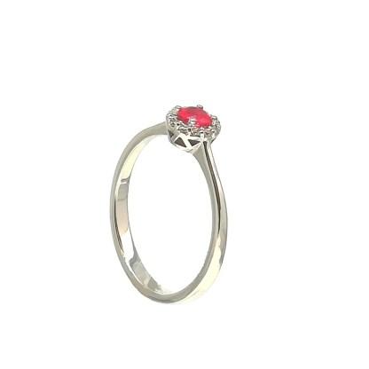 Anello in Oro bianco con Rubino e Diamanti Kate