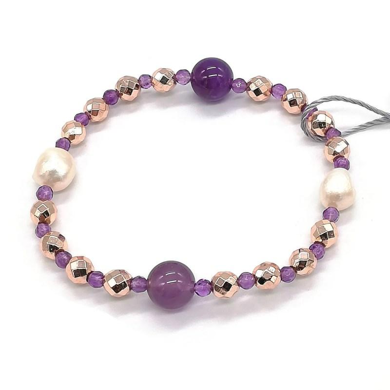 Bracciale in Perle di Acqua dolce Ametista e Ematite Kikilia Fashion