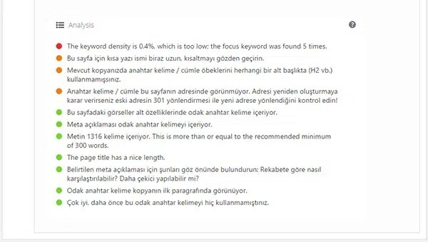 Wordpress Yoast SEO SEO Analizi