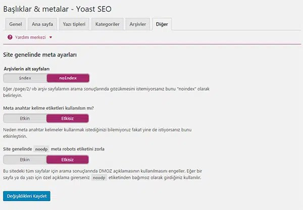 Wordpress SEO Eklentisi Ayarları Başlıklar ve Metalar Diğer