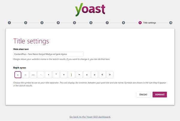 Wordpress Yoast SEO Eklentisinin Kurulum Sihirbazı dokuzuncu Sayfa
