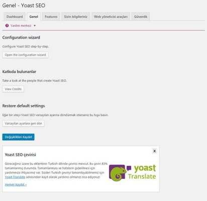 Wordpress Yoast SEO Eklentisinin Kurulum Sihirbazını Başlatma