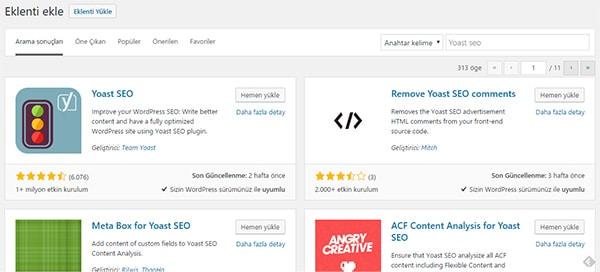 WordPress Yoast SEO Eklentisinin Kurulumu