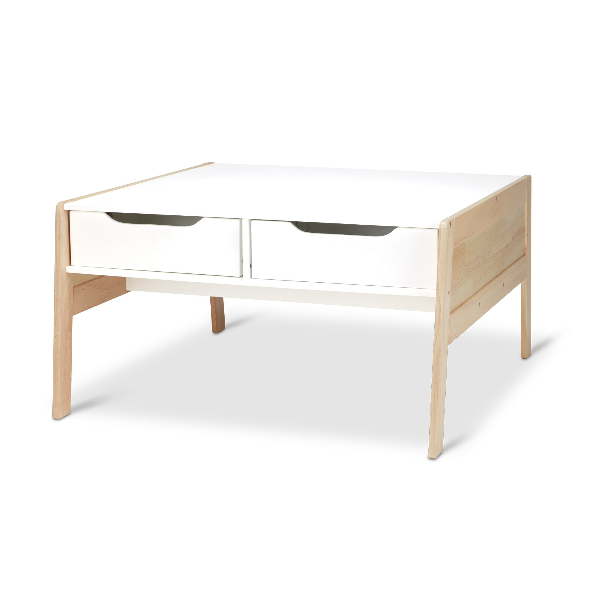 wooden art activity table with bins