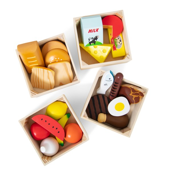 wooden food groups in crates