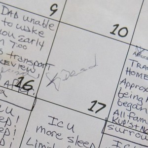 Calendar kept by daughter Lisa Sturm