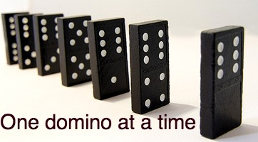 one domino at a time falls