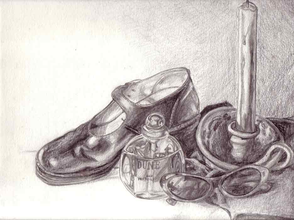 Pencil sketch of a still life. Once upon a time Dune was my favourite perfume, those were my favourite shoes and sunglasses, and I used go to an evening art class.