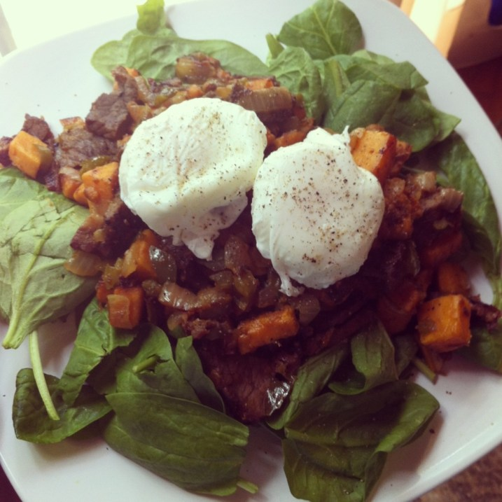 Breakfast Hash over Spinach with Poached Eggs