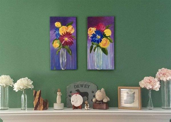 Summer Ladies Acrylic Floral Paintings