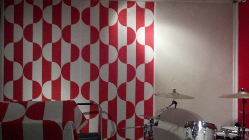 In progress: Custom printed fabric installation for Epic Rap Battles of History and Nice Peter live recording room