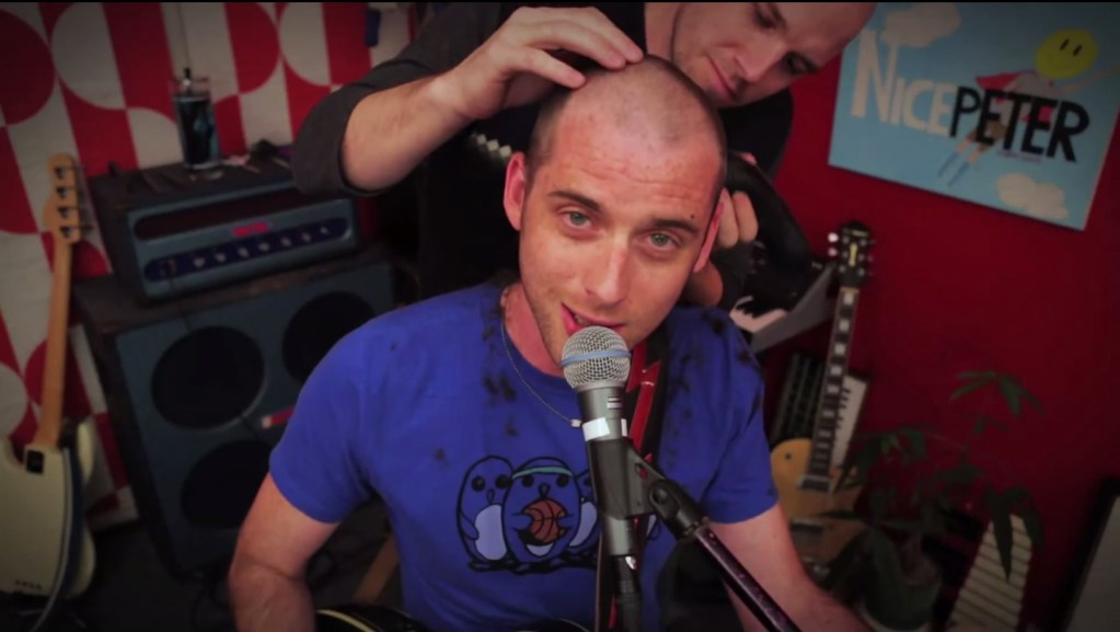 """Nice Peter recording his hit """"Bald Guy"""" video in Epic Rap Battles of History Live Room designed by Melissa Judson"""
