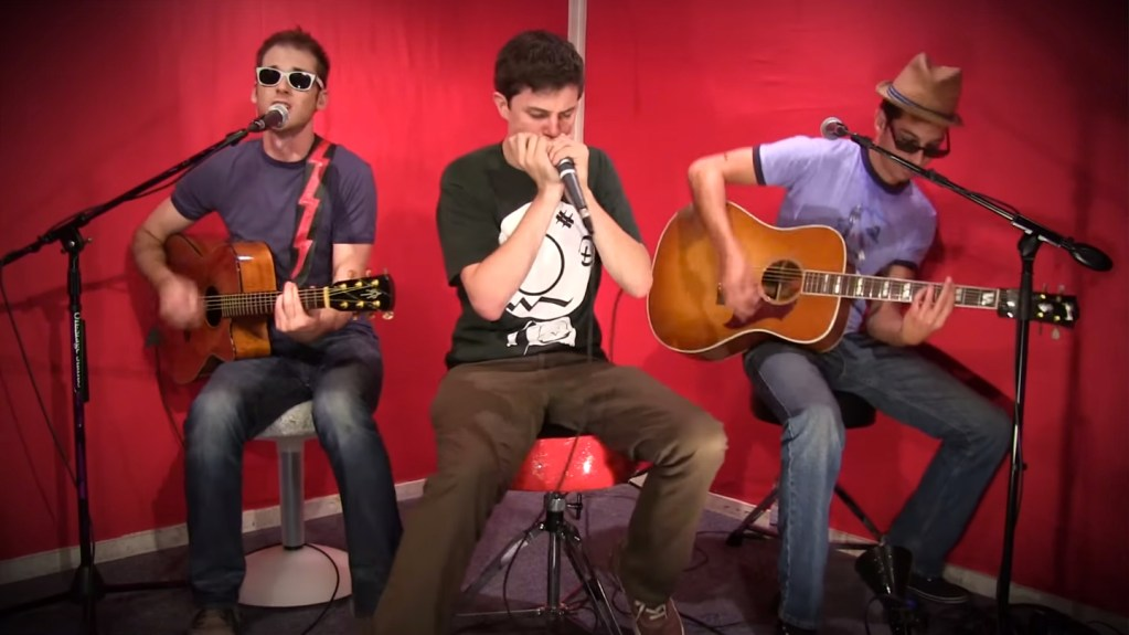"""Nice Peter, EpicLloyd and Gwatsky recording """"The Zombie Blues"""" in the Epic Rap Battles of History Studio Live Room designed by Melissa Judson"""