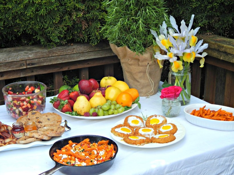 Spring Brunch Photos + Menu with Sweet Potato Hash, Fresh Fruit Salad and more! #SpringintoFlavor #ad